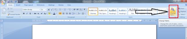 Cara Menggunakan Change Styles Pada Microsoft Word, cara mengganti format huruf pada microsoft word, kegunaan change styles, fungsi change styles