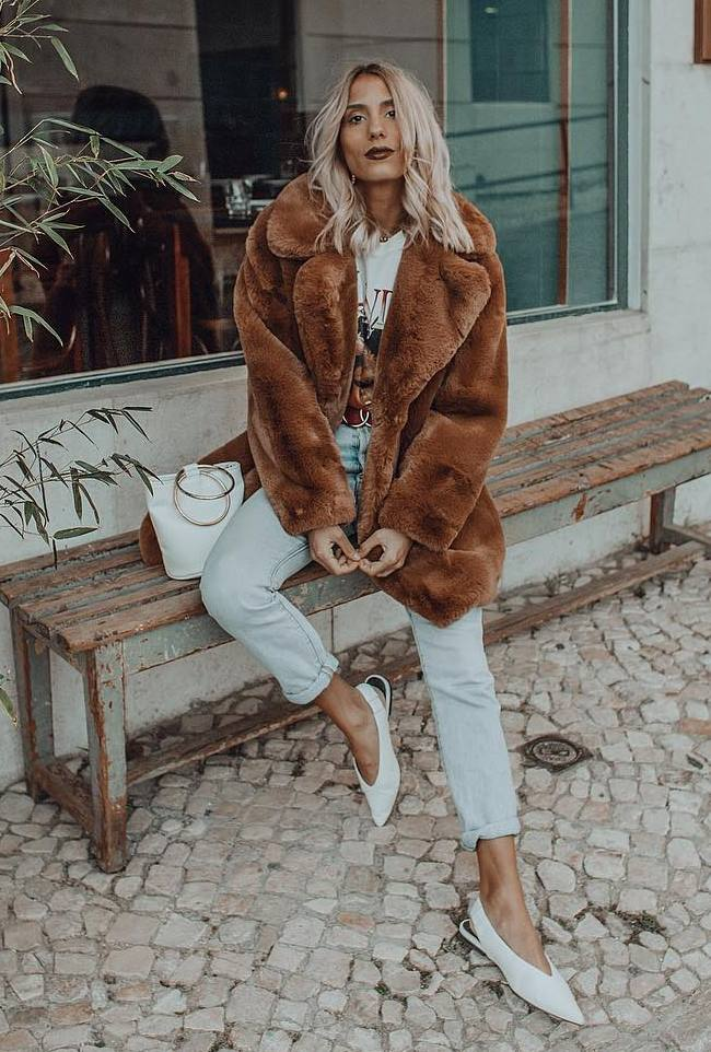 how to style a brown fur coat : jeans + white bag + top + heels