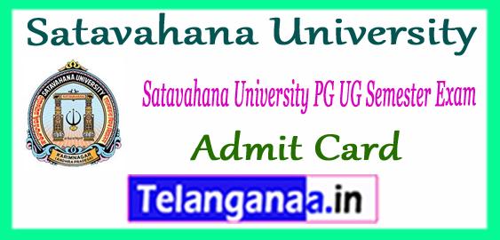 Satavahana University UG PG Semester Admit Card 2017-18 Download
