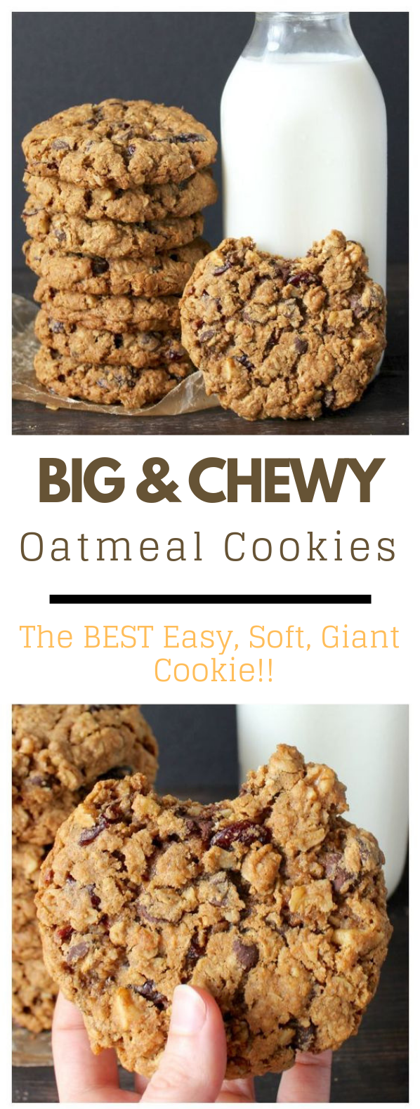 BIG AND CHEWY OATMEAL COOKIES #cookies #oatmeal