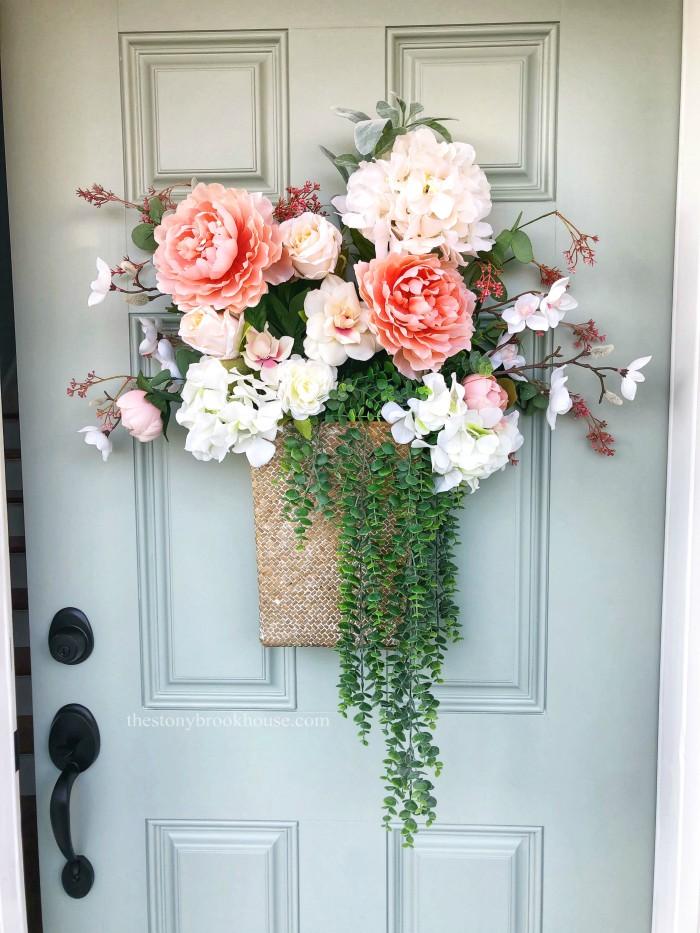 Floral Basket Bouquet on the front door