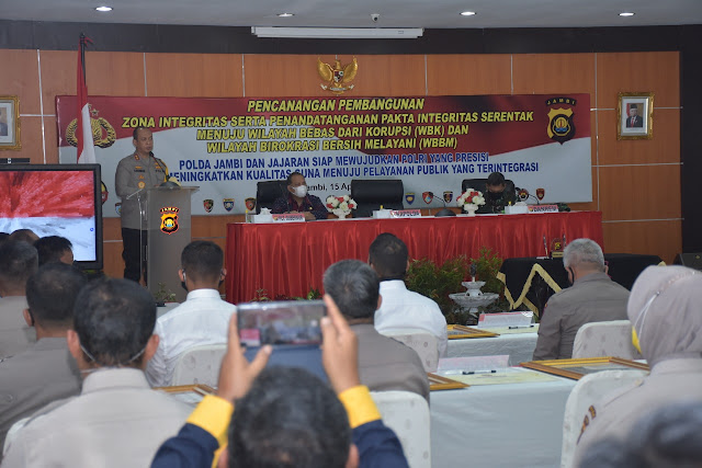 Polda Jambi Gelar Pencanangan Pembangunan Zona Integritas menuju Wilayah Bebas dari Korupsi (WBK)