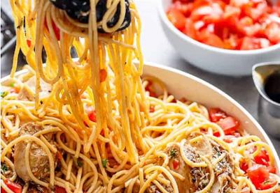 bruschetta chicken pasta plate of mixed greens #dinner #pasta
