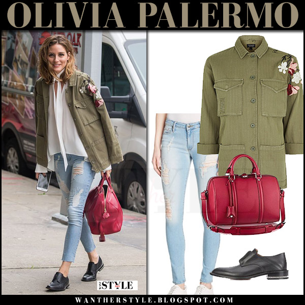 Olivia Palermo in green embroidered topshop jacket, ripped jeans black orchid and black shoes givenchy rosanna july 24 2017 streetstyle outfit
