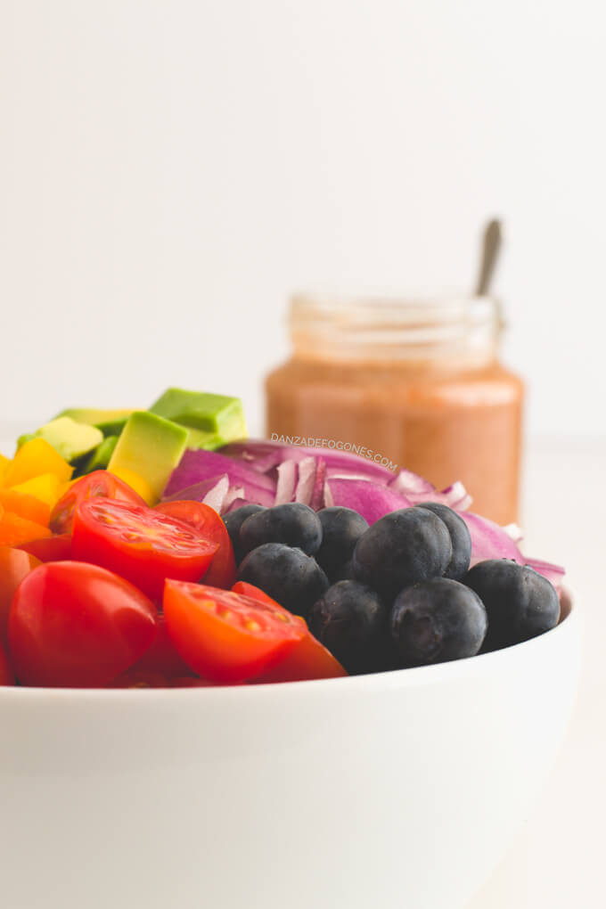 Rainbow salad with low-fat dressing | danceofstoves.com
