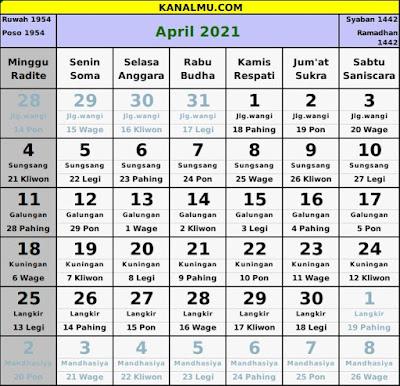 kalender april 2021 lengkap jawa hijriyah