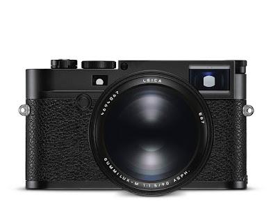 Cámara Leica en visión frontal con objetivo Summilux-M 90 mm f/1.5 ASPH.