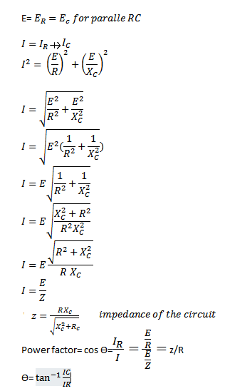 Parallel RC circuit formula
