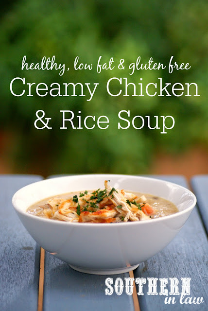 Low Fat Creamy Chicken and Rice Soup Recipe | healthy, low fat, gluten free, clean eating friendly