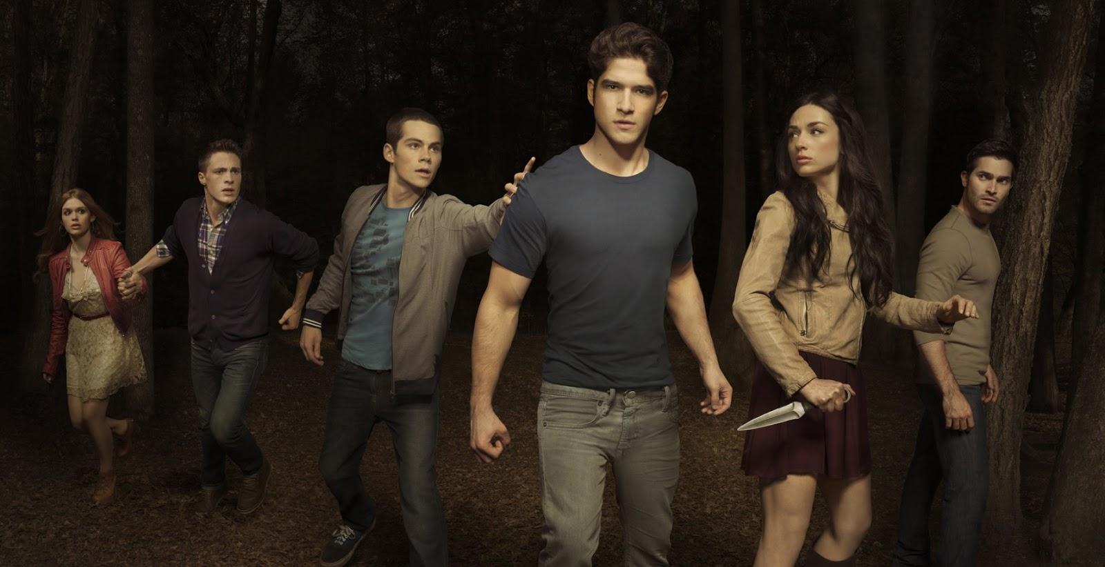Holland Roden, Colton Heynes, Dylan O'Brien, Cristal Reed, Tyler Posey y Tyler Hoechlin en la imagen promocional de la primera temporada de Teen Wolf de MTV