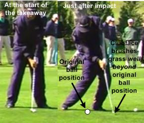 Tom Lehman golf swing at address and after impact