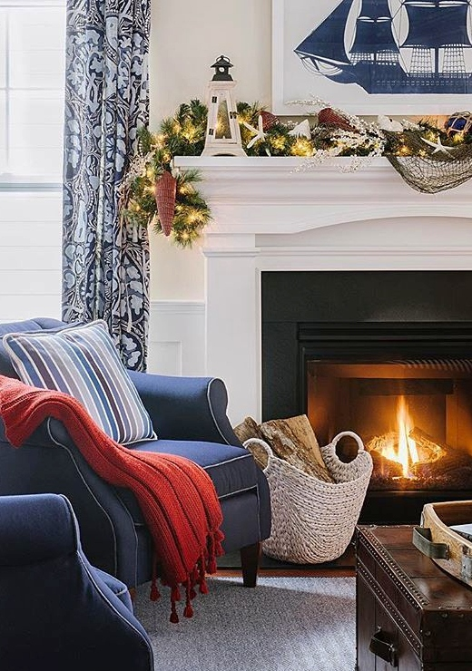 Nautical Christmas Living Room Mantel Design Idea