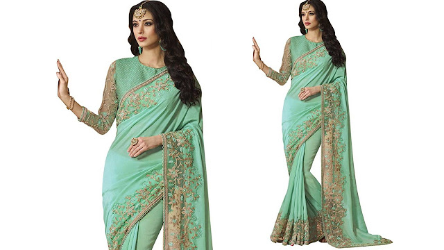 Saara Solid, Embroidered, Embellished Fashion Shimmer Fabric, Net Saree  (Blue)
