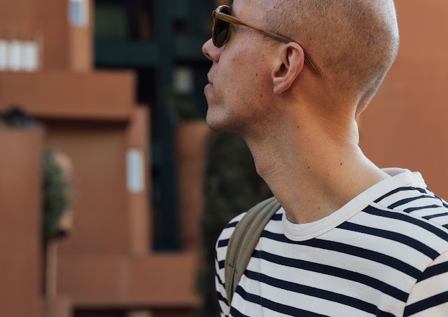 breton stripe long sleeve shirt by joseph fashion, worn with moscot lemtosh sunglasses at walden7 barcelona