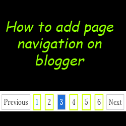 How To Add Page Number Navigation On Blogger