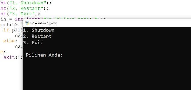 Program Python Mematikan/Merestart Komputer