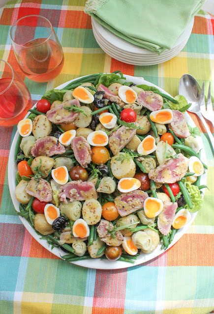 Food Lust People Love: Not the traditional French recipe from Nice, this Grilled Tuna Niçoise Salad is going to be a favorite for folks who aren't crazy about canned tuna. Lightly grilled fresh tuna brings a lovely freshness to the plate which includes potatoes, green beans, tomatoes, artichokes, olives and mixed greens.