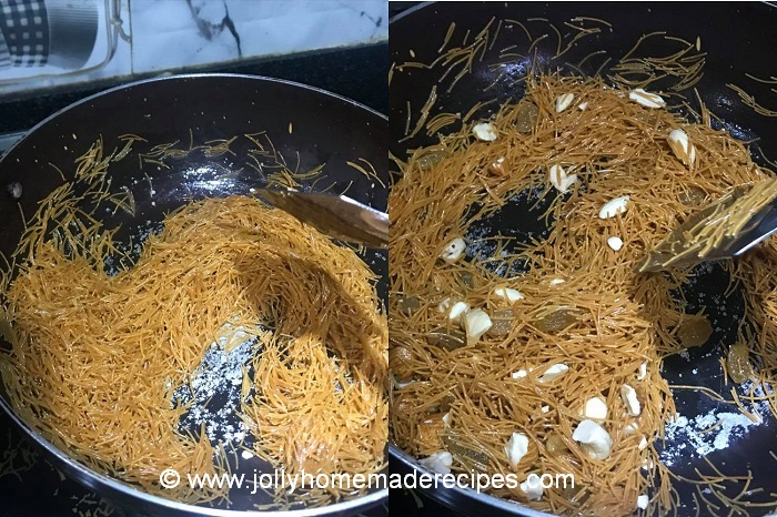 fry the vermicelli with nuts