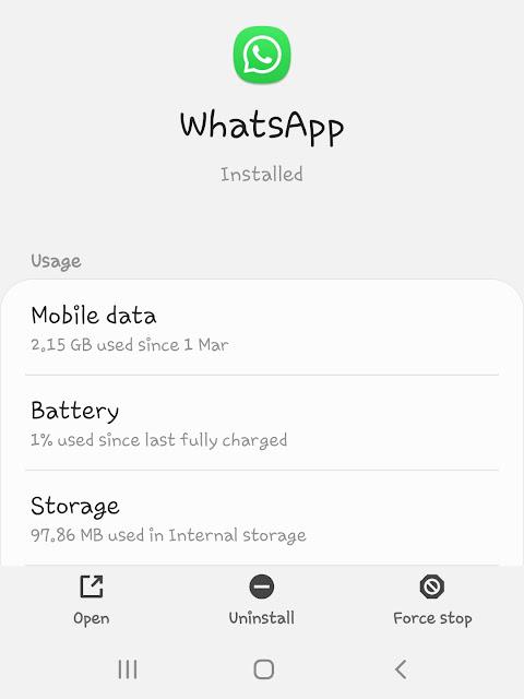 Force stop WhatsApp