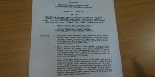 Beredar Surat Fraksi Gerindra DKI Masukkan Sanusi ke Balegda Sesaat Sebelum Pembahasan Raperda Reklamasi
