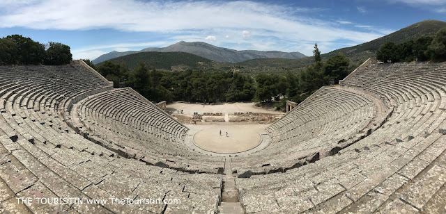 Panorama view over the Epidaurus Theatre and landscape in Greece