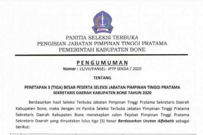 Resmi Ditetapkan, 3 Besar Peserta Seleksi Jabatan Sekda Kabupaten Bone