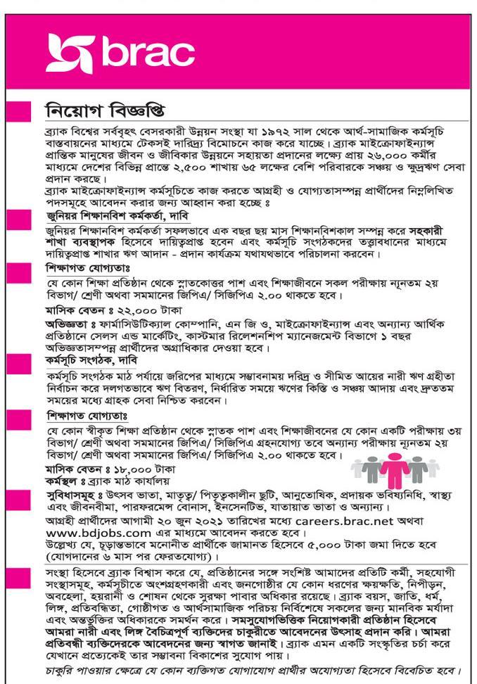 ব্র্যাক এনজিও নতুন নিয়োগ বিজ্ঞপ্তি ২০২১ - BRAC NGO New Job Circular 2021 - এনজিও চাকরির খবর ২০২১