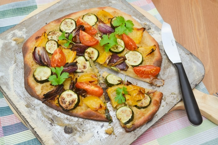 Blonde Pizza with Roast Vegetables and Hummus