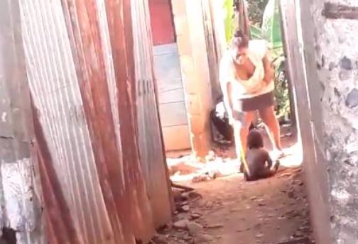 Video: Supuestamente es de Manoguayabo mujer que golpea a un niño con un palo