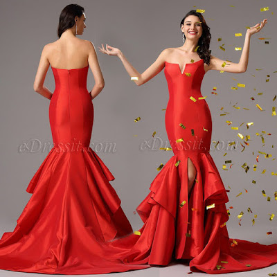 Strapless Fitted V Neck Red Mermaid Prom Gown
