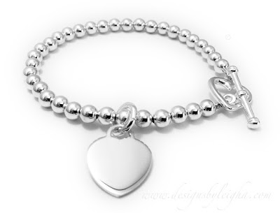 Beaded Heart Charm Bracelet - Valentine's Day