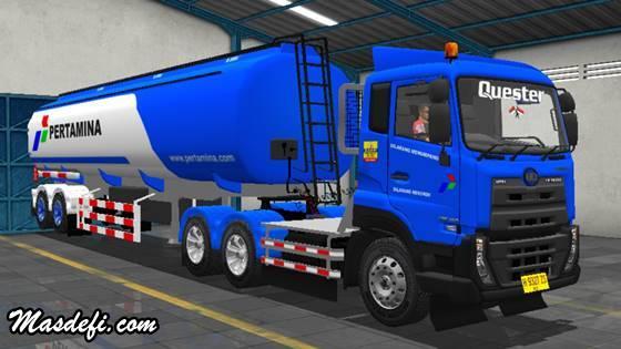 livery truck ud quester trailer tangki pertamina biru
