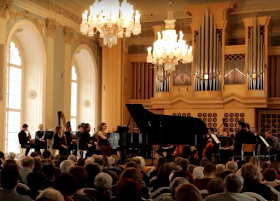 Kristina Stepasjukova with the Academy Orchestra of the Czech Philharmonic Orchestra, conducted by Ondrej Vrabec at the Martinu Hall in the Lichtenstein Palace, Prague