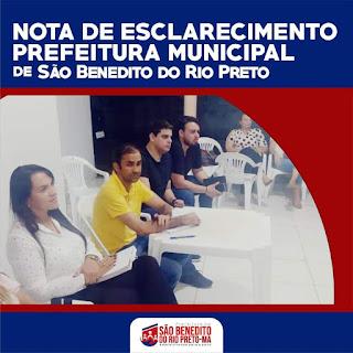 SÃO BENEDITO DO RIO PRETO-MA: Prefeito Wallas emite Nota de Esclarecimento sobre salários atrasados da gestão passada