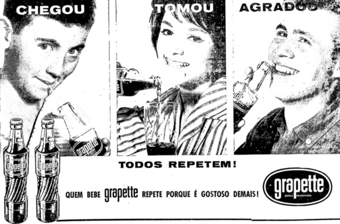 Propaganda antiga do Refrigerante Grapette nos anos 6o