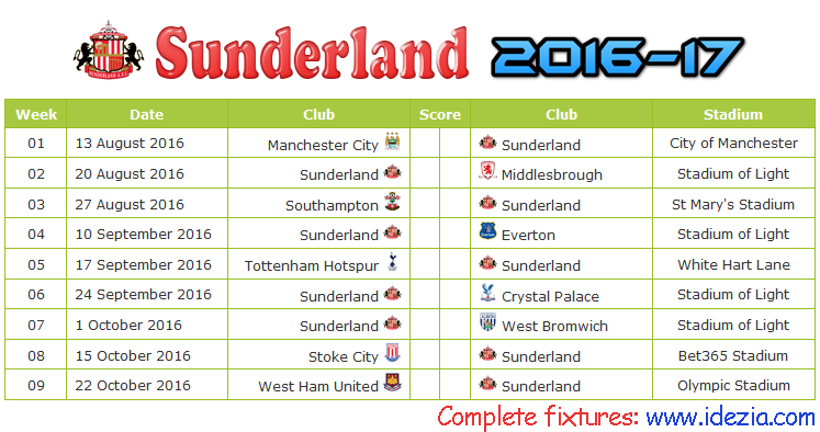 Download Jadwal Sunderland AFC 2016-2017 File PDF - Download Kalender Lengkap Pertandingan Sunderland AFC 2016-2017 File PDF - Download Sunderland AFC Schedule Full Fixture File PDF - Schedule with Score Coloumn