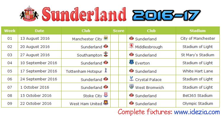 Download Jadwal Sunderland AFC 2016-2017 File JPG - Download Kalender Lengkap Pertandingan Sunderland AFC 2016-2017 File JPG - Download Sunderland AFC Schedule Full Fixture File JPG - Schedule with Score Coloumn