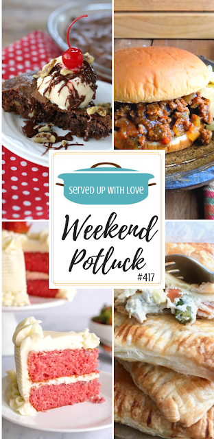 Weekend Potluck featured recipes include Old-Fashioned Sloppy Joes, Fresh Strawberry Cake with Cream Cheese Icing, Chicken Pot Hand Pies, Brownie Sundae Pie and so much more.