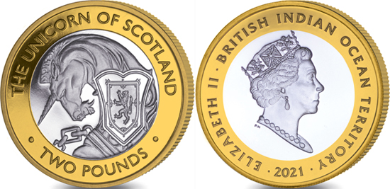 British Indian Ocean Territory 2 pounds 2021 - The Queen's Beasts - The Unicorn of Scotland