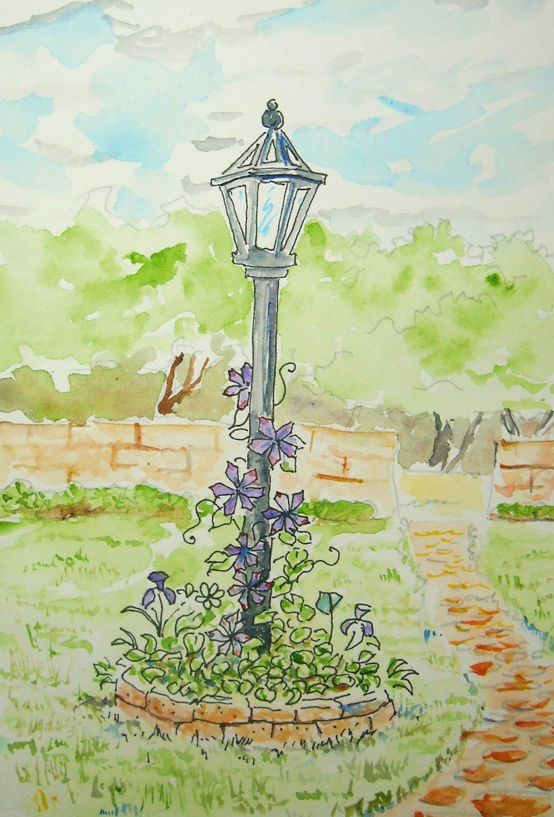 Garden drawing pictures - How To Draw Garden Lamp Post