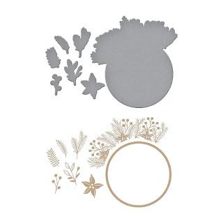 CHRISTMAS FOLIAGE CIRCLE BORDER Glimmer Hot Foil Plate