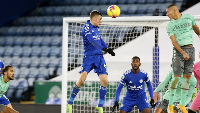 Jamie Vardy rose high to head the ball against Everton