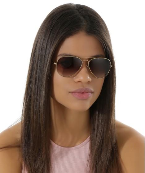 óculos aviador feminino onesef dourado