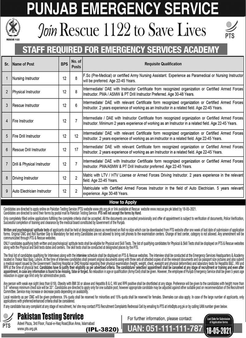 Punjab Emergency Service Rescue 1122 Lahore Jobs 2021 in Pakistan - Punjab Rescue 1122 Jobs 2021