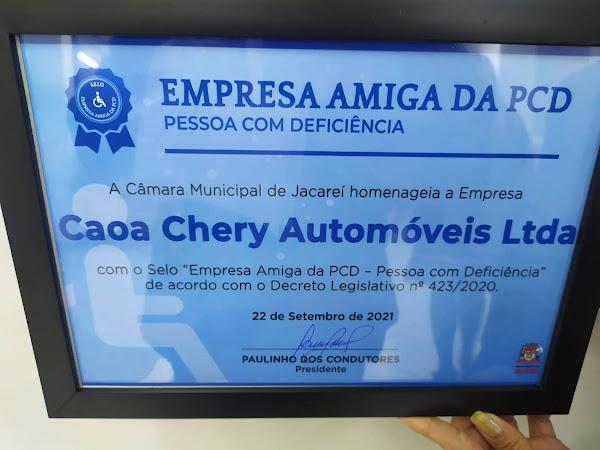 CAOA CHERY recebe Selo de Empresa Amiga do PCD Em Jacareí