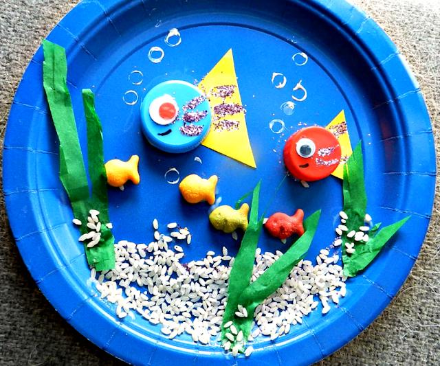 kids crafts, preschool crafts, kindergarten crafts, paper plate crafts, ocean theme