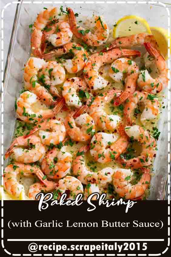 Baked Shrimp with a simple Garlic Lemon Butter Sauce – this recipe couldn't get any easier and you'll be dreaming about this sauce! You get perfectly tender baked shrimp covered in a rich sauce that's perfect for sopping up with fresh crusty bread. Plus you can't beat the quick bake time here! #recipe #food #delicious