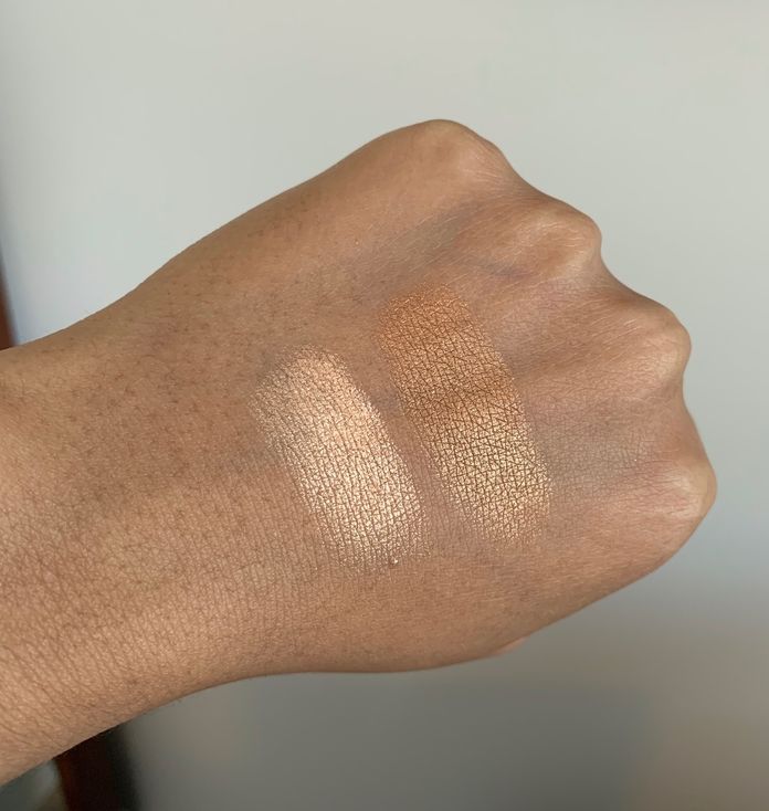 Lancome Dual Finish Highlighter Sparkling Peche and Dazzling Bronze Swatches on Dark Skin