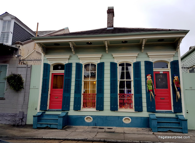 Casa típica creole no Faubourg Marigny de Nova Orleans