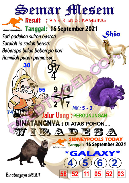 Prediksi Syair Semar Mesem Sdy Kamis 16 September 2021